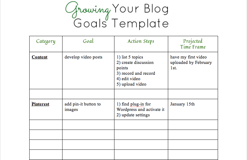 grow your blog goals template