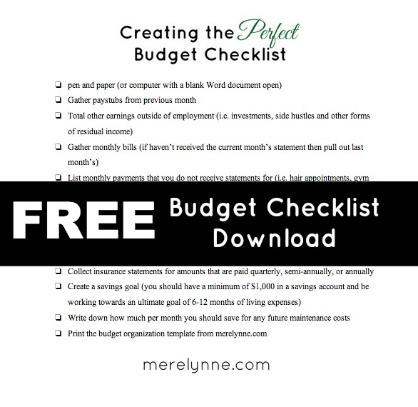 Budget Checklist download