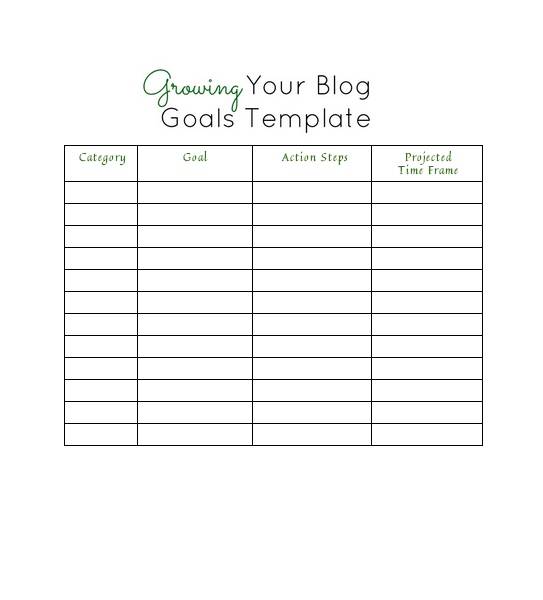 Growing Your Blog Goals Template