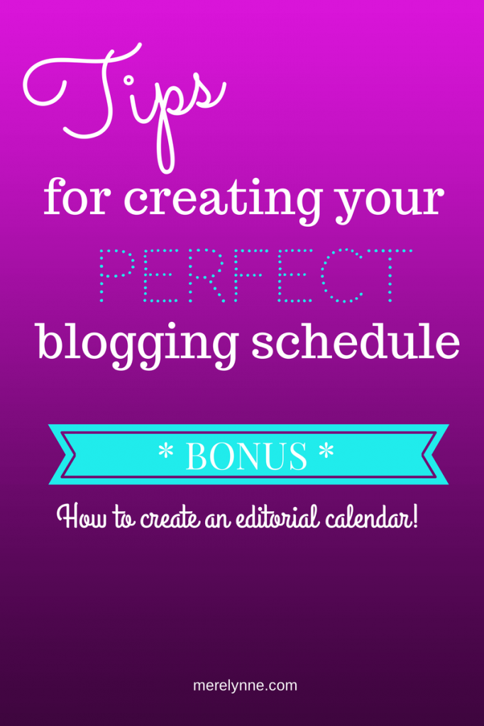 blogging schedule, editorial calendar