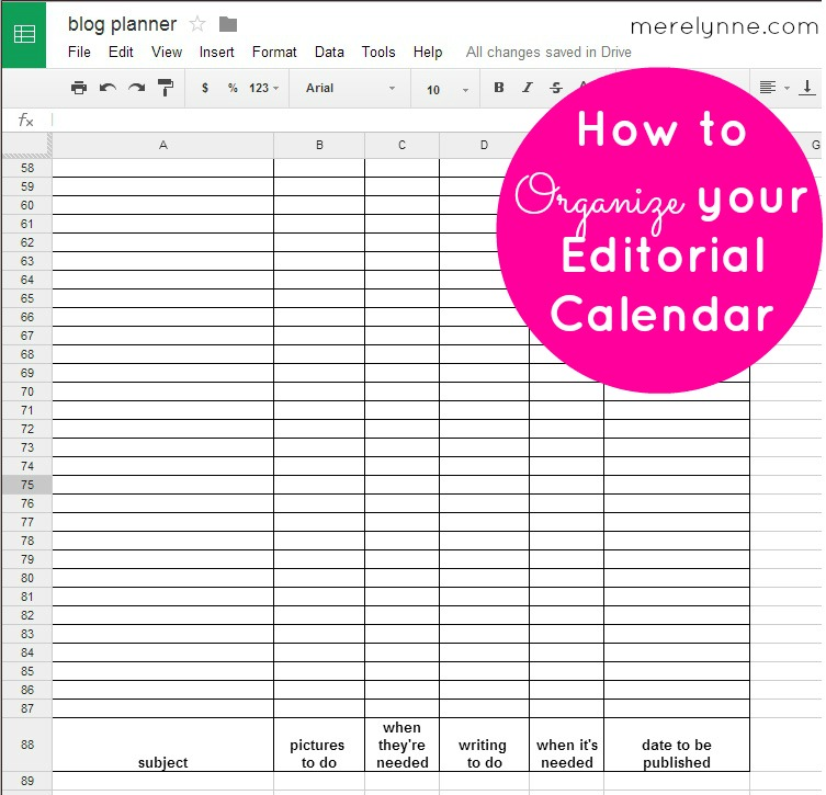 editorial calendar, blogging schedule