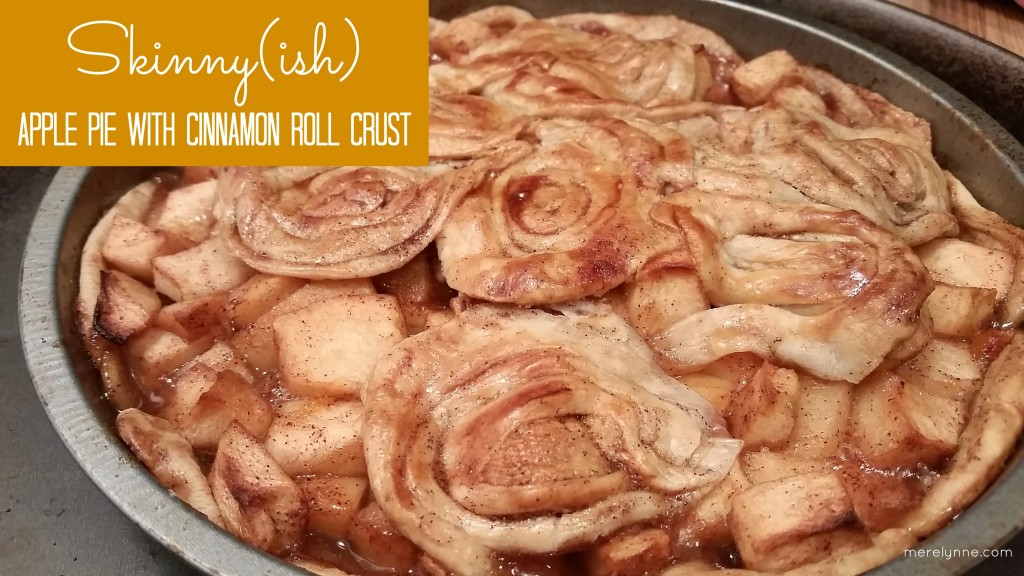 skinny ish apple pie with cinnamon roll crust