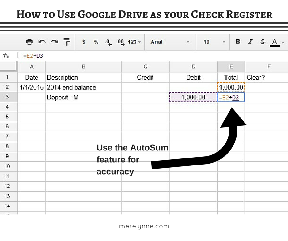 how to use google spreadsheets as your check register