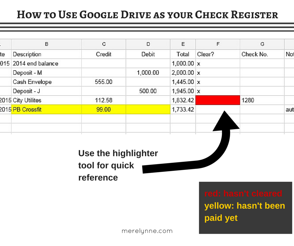 how to use google sheets as your check register