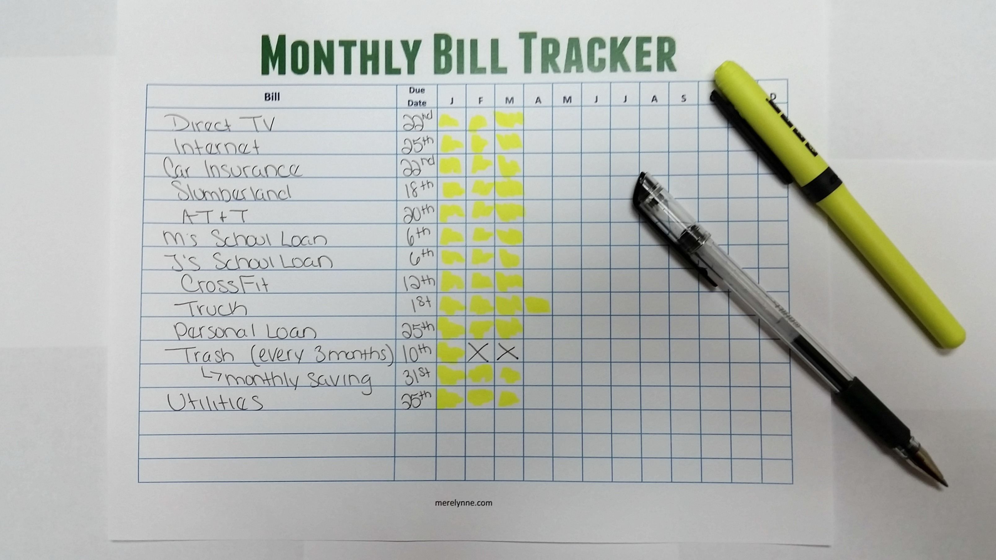 ... On Top of Your Monthly Bills {Free Monthly Bill Tracker download