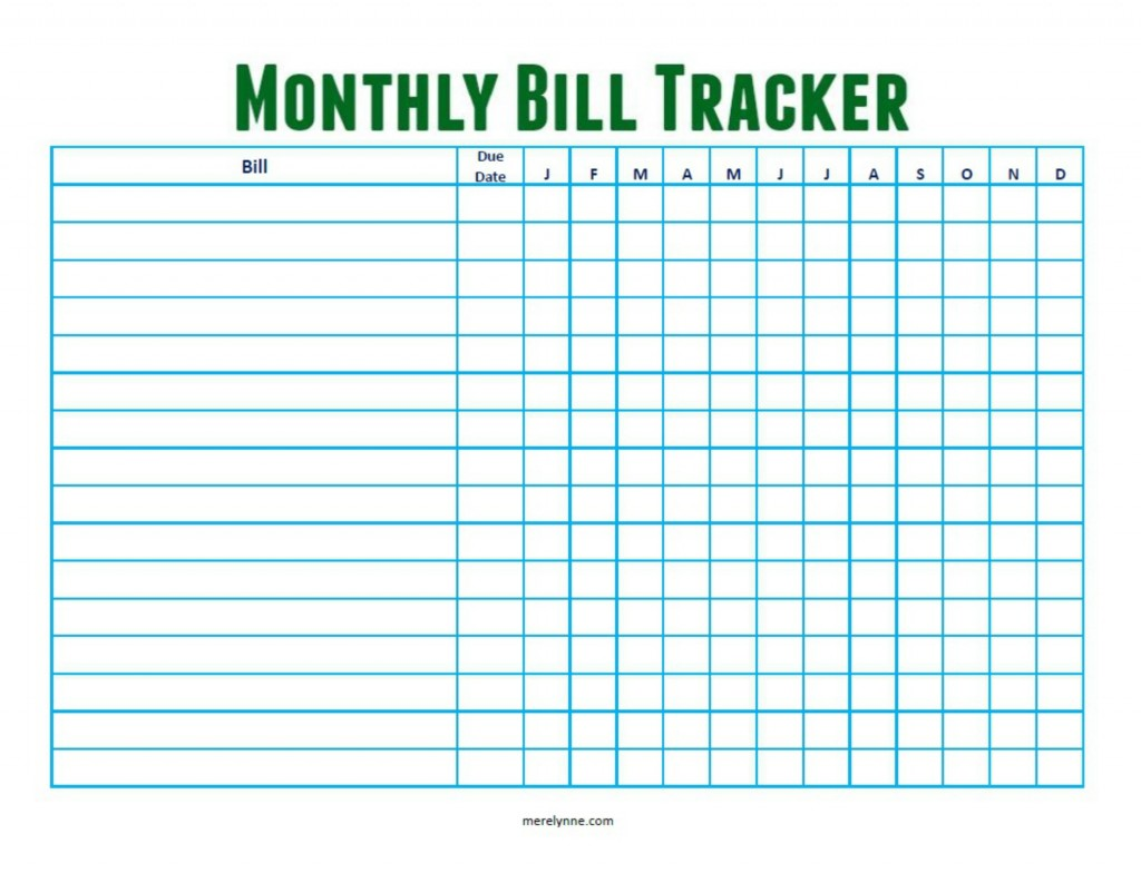 To download your free monthly bill tracker download