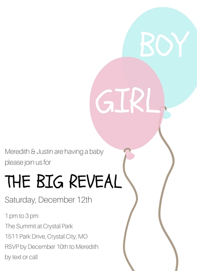 gender reveal party invite