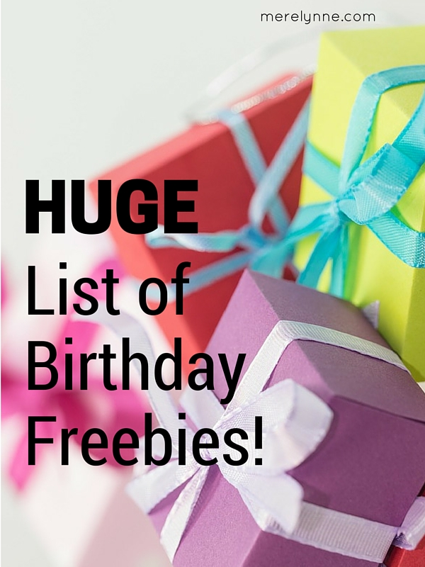list of birthday freebies