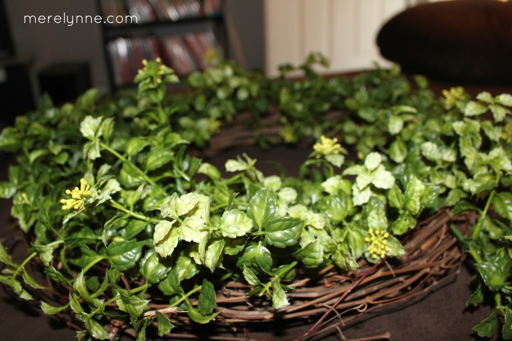 DIY twig and greenery wreath
