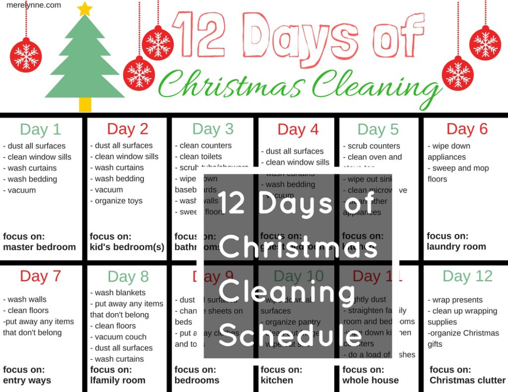 12 days of christmas cleaning, christmas schedule