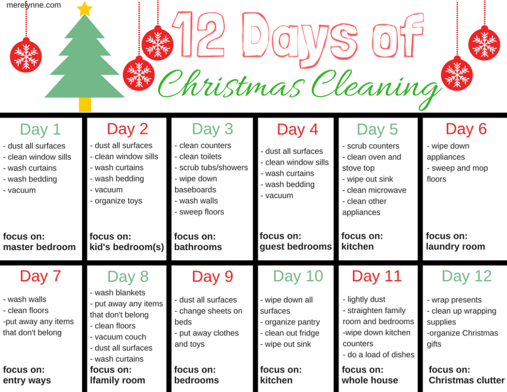 12 days of Christmas cleaning schedule